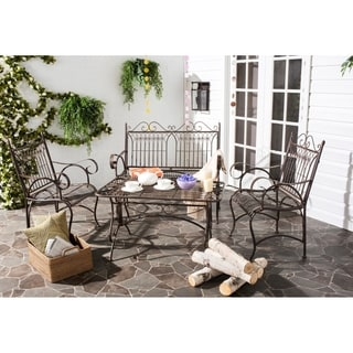 Safavieh Outdoor Living Rustic Leah Rustic Brown Iron Patio Set (4-piece)