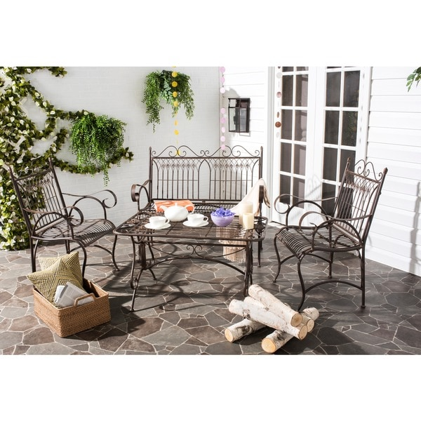 Safavieh outdoor living rustic leah rustic brown iron for Home design 6 piece patio set