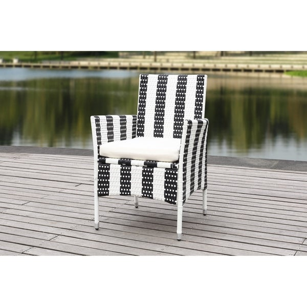 Safavieh Outdoor Living Cooley Black White Dining Set 5: Shop Safavieh Outdoor Living Kendrick Black/ White Chair