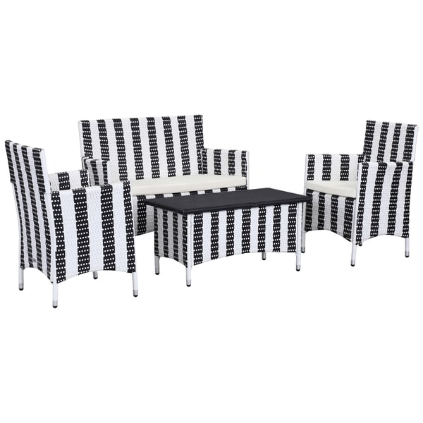 Safavieh Outdoor Living Cooley Black White Dining Set 5: Shop Safavieh Outdoor Living Figueroa Black/ White Patio