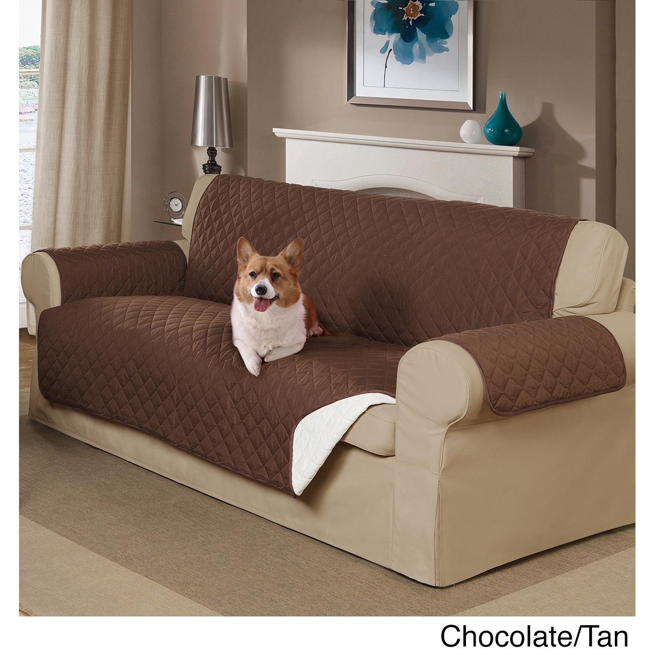Home Decor Reversible Pet Sofa Cover (Chocolate/Tan), Bro...