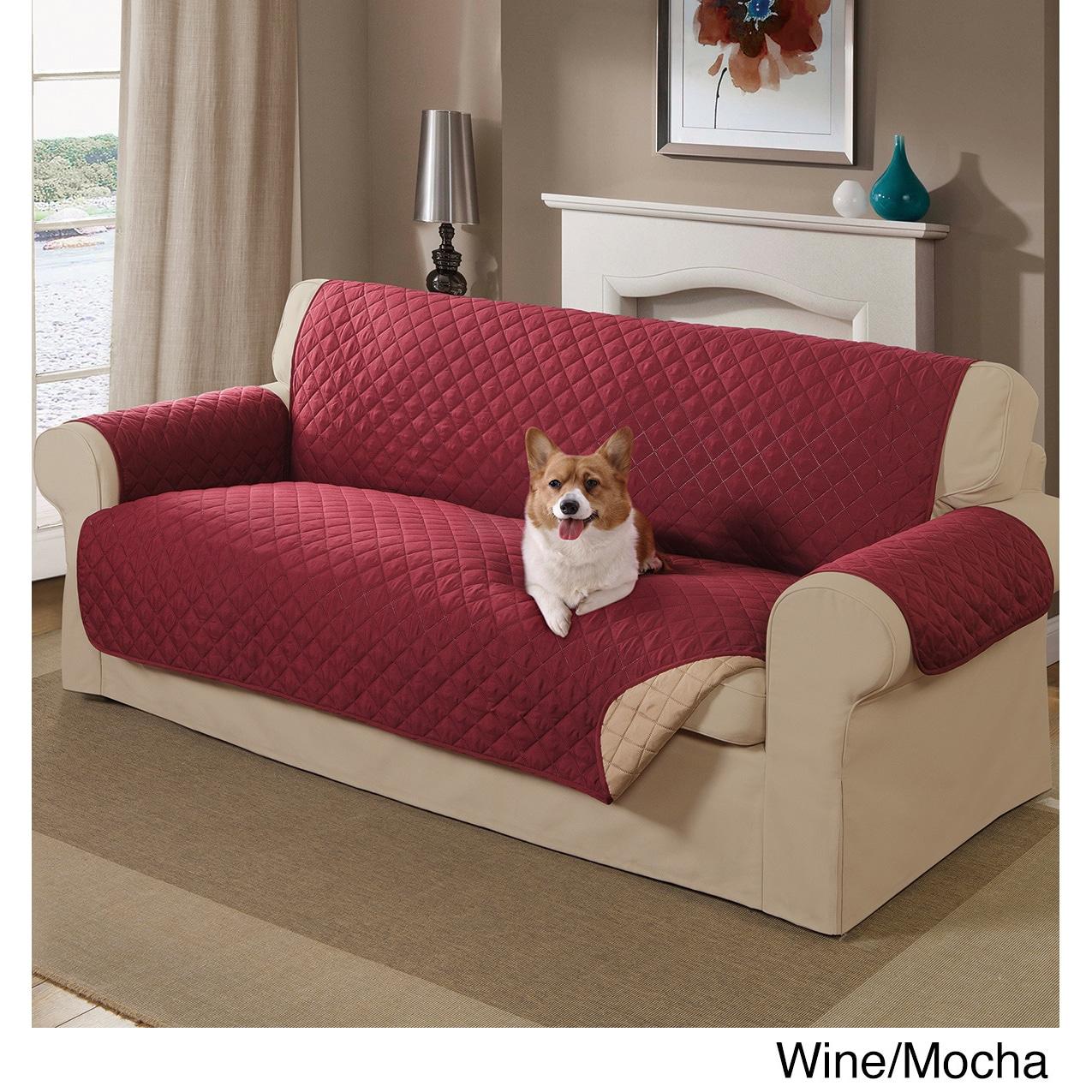 Home Decor Reversible Pet Sofa Cover (Wine/Mocha), Red (A...