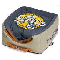 Touchdog Convertible and Reversible Vintage Printed Squared 2-in-1 Collapsible Dog House Bed