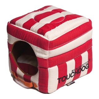 Touchdog Polo-Striped Convertible and Reversible Squared 2-in-1 Collapsible Dog House Bed