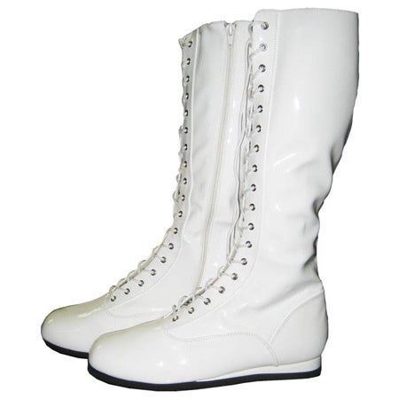 White Adult Pro Wrestling Boots Costume