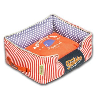 Touchdog Polka-Striped Polo Easy Wash Rectangular Fashion Dog Bed