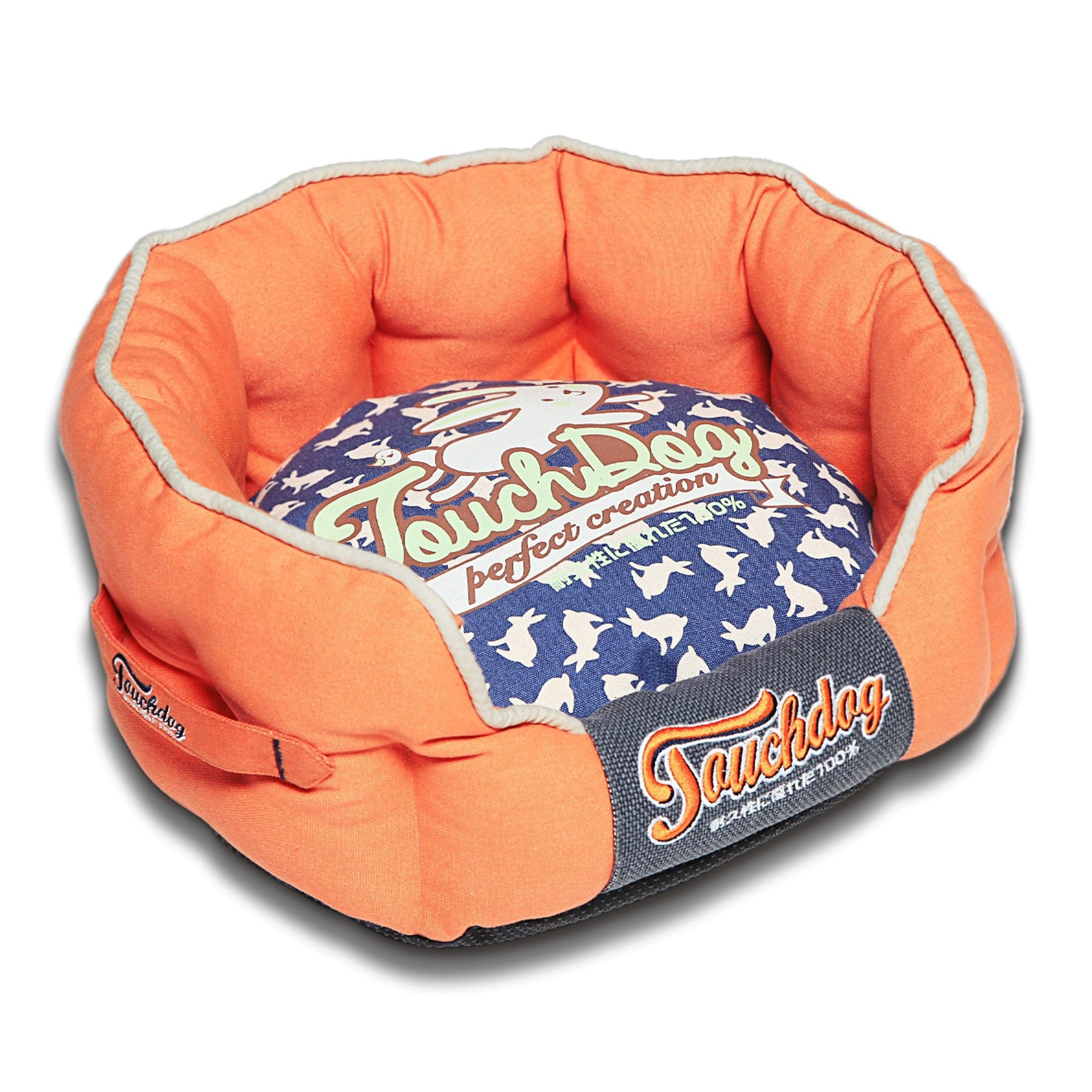 Petlife Touchdog Rabbit-Spotted Premium Rounded Dog Bed (...