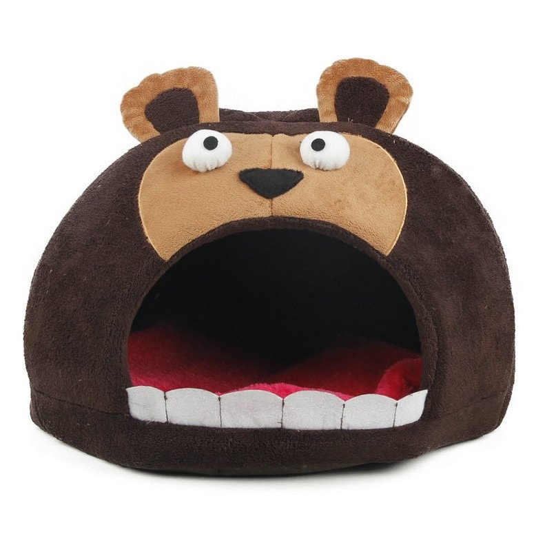Petlife Roar Bear Snuggle Plush Polar Fleece Pet Bed (One...