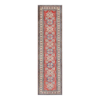 Herat Oriental Afghan Hand-knotted Tribal Vegetable Dye Kazak Red/ Ivory Wool Rug (2'10 x 11'1)
