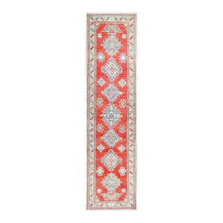 Herat Oriental Afghan Hand-knotted Tribal Vegetable Dye Kazak Red/ Ivory Wool Rug (2'10 x 11'5)