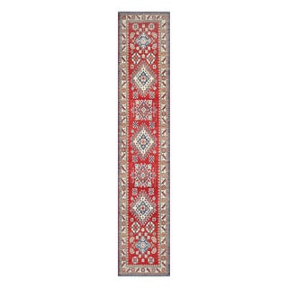 Herat Oriental Afghan Hand-knotted Tribal Vegetable Dye Kazak Red/ Ivory Wool Rug (2'7 x 13'4)