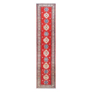 Herat Oriental Afghan Hand-knotted Tribal Vegetable Dye Kazak Red/ Ivory Wool Rug (2'10 x 13'1)