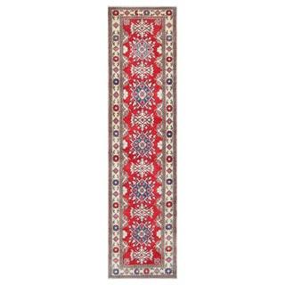 Herat Oriental Afghan Hand-knotted Tribal Vegetable Dye Kazak Red/ Ivory Wool Rug (2'10 x 11'6)