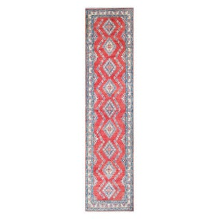 Herat Oriental Afghan Hand-knotted Tribal Vegetable Dye Kazak Red/ Ivory Wool Rug (2'7 x 11' 3)