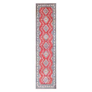 Herat Oriental Afghan Hand-knotted Tribal Vegetable Dye Kazak Wool Runner - 2'7 x 11'3