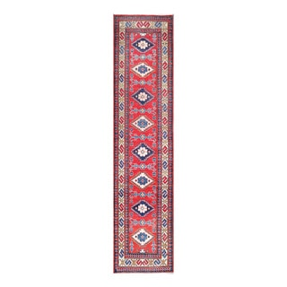Herat Oriental Afghan Hand-knotted Tribal Vegetable Dye Kazak Red/ Ivory Wool Rug (2'6 x 11')