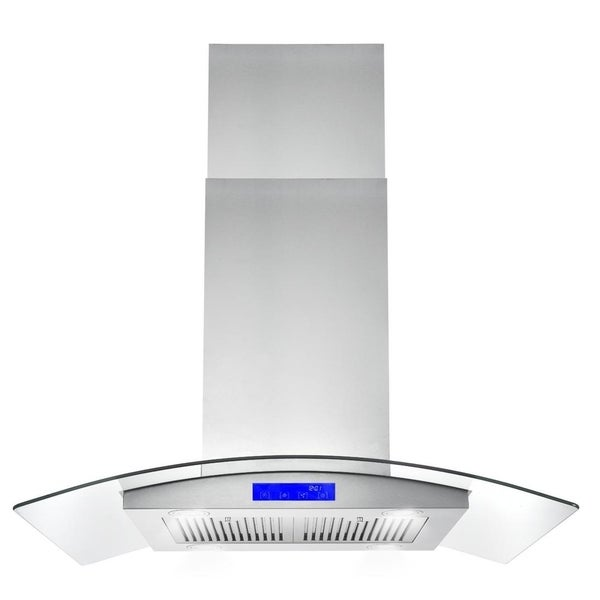 Cosmo 36 in. Ducted Island Range Hood in Stainless Steel with LED Lighting and Permanent Filters