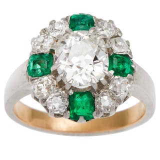 Platinum 2 1/3ct TDW Diamond and Emerald Antique Engagement Ring (G-H, VS1-VS2)
