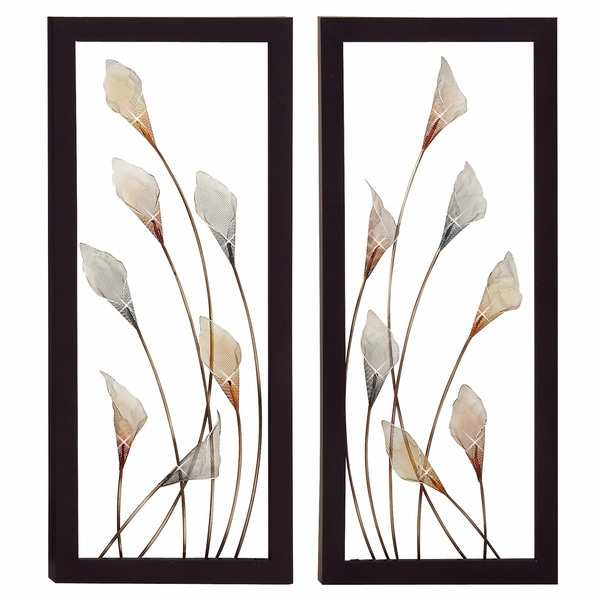Bloom Large Hand-crafted LED Lights Metal Wall Art Decor (Set of 2)