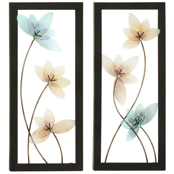 Spring Jewel Large Hand-crafted LED Lights Metal Wall Art Decor (Set of 2)