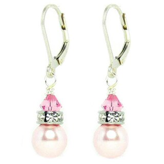 Queenberry Sterling Silver Pink Austrian Crystal Elements/ Pearl Leverback Earrings