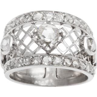 14k White Gold 1 3/4ct TDW Rose-cut Diamond Estate Wide Band Ring (I-J, SI1-SI2) (Size 7.75)|https://ak1.ostkcdn.com/images/products/10302112/P17415336.jpg?impolicy=medium