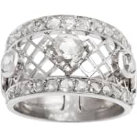 14k White Gold 1 3/4ct TDW Rose-cut Diamond Estate Wide Band Ring (I-J, SI1-SI2) (Size 7.75)