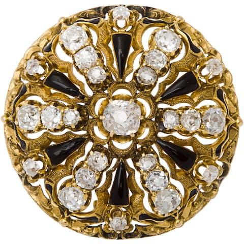 14k Yellow Gold 4ct TDW Diamond (Old Miners) Onyx Estate Pin (H-I, SI1-SI2)