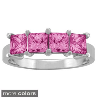 10k White Gold Square Birthstone 4-stone Ring