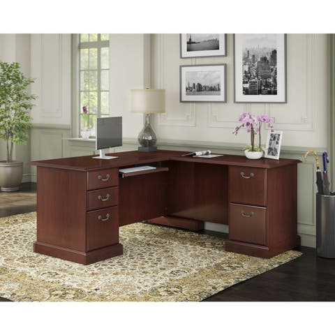 Bennington Executive L Desk in Harvest Cherry from kathy ireland Home by Bush Furniture