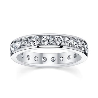 14k White Gold 2 3/8 to 2 3/4ct TDW Diamond Eternity Wedding Band