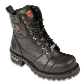 Milwaukee Men's Premium Leather Black Boots with Lacing