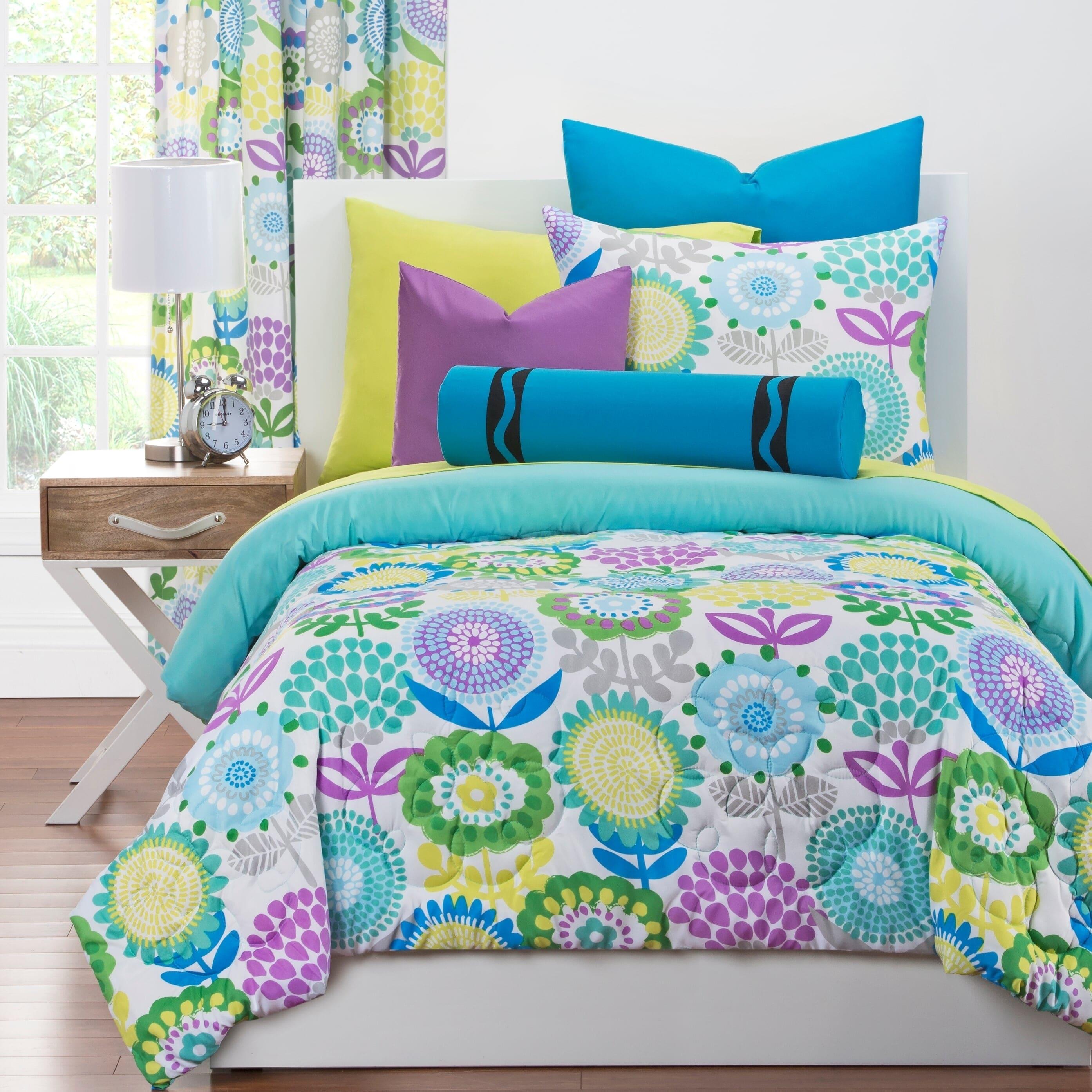 Crayola Pointillist Pansy 3 Piece Comforter Set Overstock 10302171 Twin