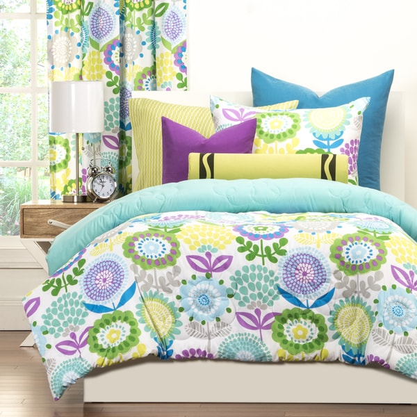 Crayola pointillist pansy 3 piece comforter set free shipping today overstock 17415434 for Teenage girl bedroom comforter sets