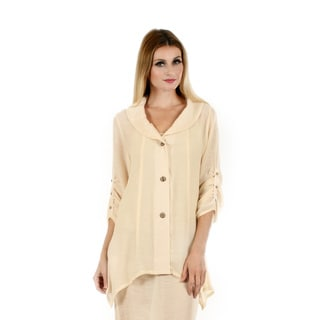 Women's 3/4 Sleeve Beige Button Front Shawl Collar Cardigan