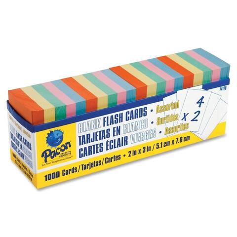 Pacon Blank Flash Card Dispenser Boxes, Assorted, 1000/Pack - Assorted