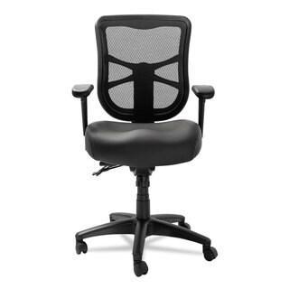 Alera Elusion Series Black Leather Mesh Mid-Back Multifunction Chair