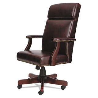 Alera Traditional Series Mahogany Finish/Oxblood Vinyl High-Back Chair