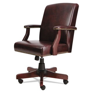 Alera Traditional Series Mahogany Finish/Oxblood Vinyl Mid-Back Chair