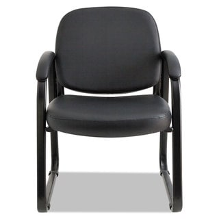 Alera Genaro Series Sled Base Guest Chair, Black Vinyl - 24.63 x 26.63 x 34