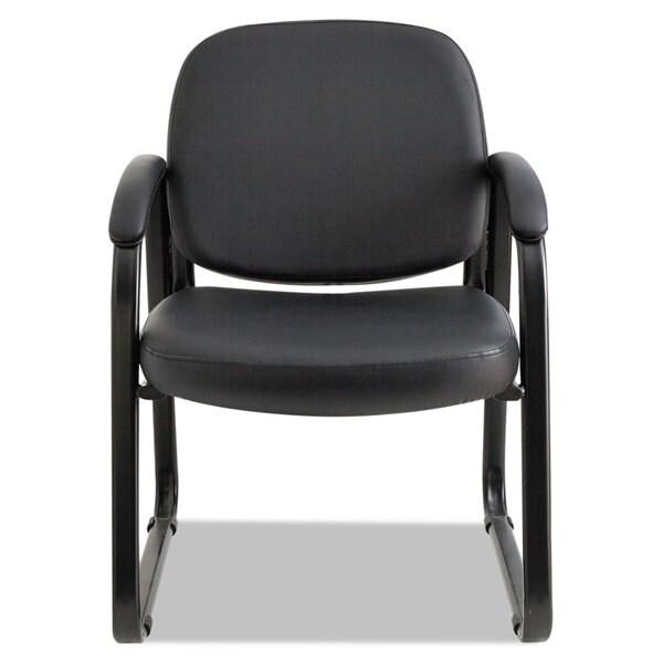 Alera Genaro Series Sled Base Guest Chair, Black Vinyl - 24.63 x 26.63 x 34