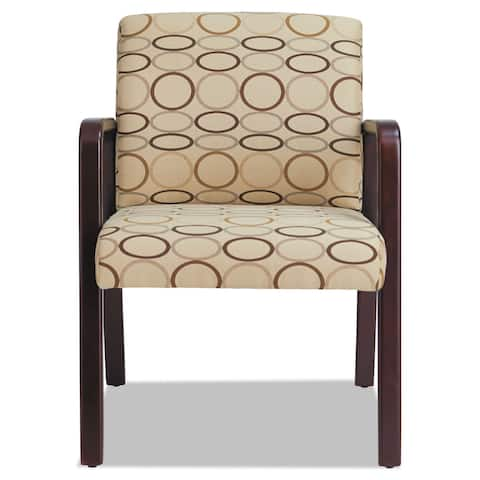 Alera Reception Lounge Series Mahogany/Tan Fabric Guest Chair - 24 x 26 x 33.25