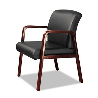 Alera Reception Lounge Series Cherry/Black Leather Guest Chair - 24 x 26 x 33.25