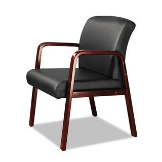 Alera Reception Lounge Series Cherry/Black Leather Guest Chair