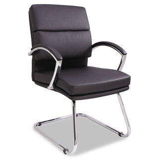 Alera Neratoli Series Black Soft Leather, Chrome Frame Slim Profile Guest Chair