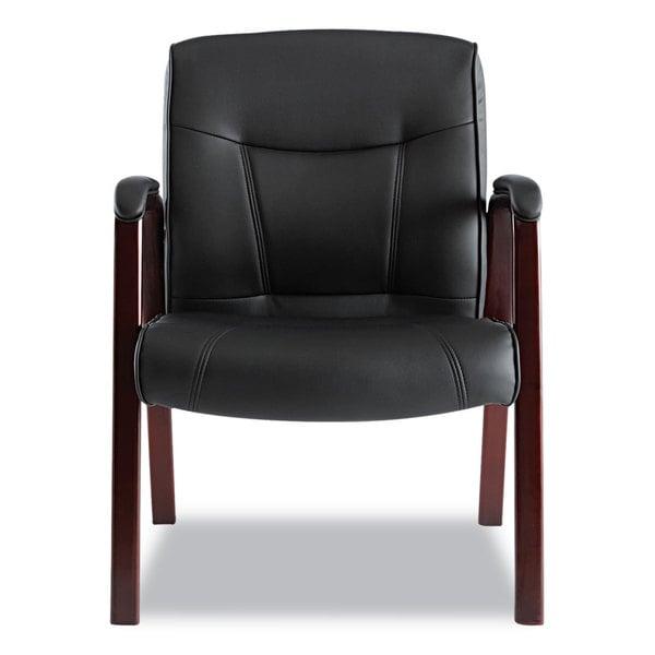 Alera Madaris Series Black/Mahogany Leather Guest Chair w/Wood Trim - 24.88 x 26 x 35