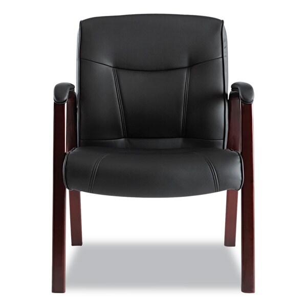 Superbe Alera Madaris Series Black Leather Guest Chair With Mahogany Wood Trim
