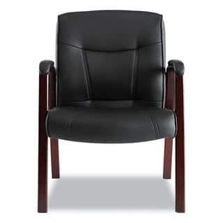 Alera Madaris Series Black/Mahogany Leather Guest Chair w/Wood Trim|https://ak1.ostkcdn.com/images/products/10302334/P17415460.jpg?impolicy=medium
