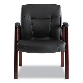 Alera Madaris Series Black Leather Guest Chair with Mahogany Wood Trim