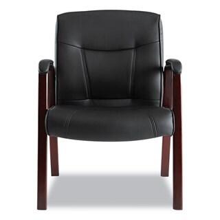 Alera Madaris Series Black/Mahogany Leather Guest Chair w/Wood Trim